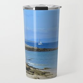 Lonely sailboat. Travel Mug
