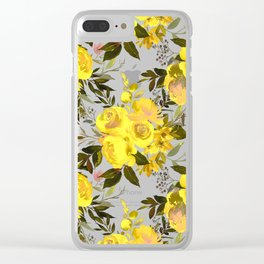 Yellow brown green watercolor hand painted roses Clear iPhone Case