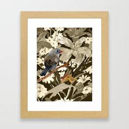 Bird Junco with Lillies Framed Art Print