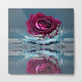 PURPLE ROSE FALLING IN  POND WATER Metal Print