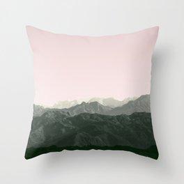 Mountains | Green + Pink Throw Pillow