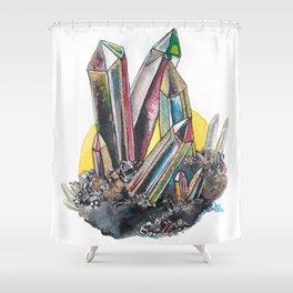 Rainbow Metallic Crystals Shower Curtain