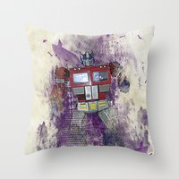 optimus prime Throw Pillows featuring G1 - Optimus Prime by DesignLawrence