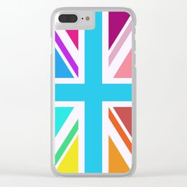 Square Based Union Jack/Flag Design Multicoloured Clear iPhone Case