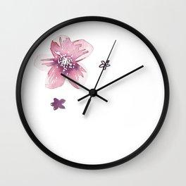 Lilac Pink Watercolour Fiordland Flower Wall Clock
