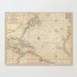 1683 Map of North America, West Indies, and Atlantic Ocean Canvas Print