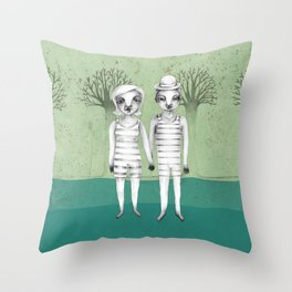 gymnast couple in the forest Throw Pillow