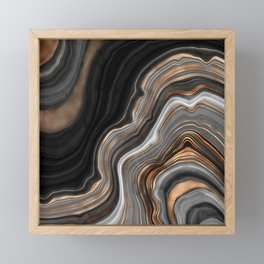 Elegant black marble with gold and copper veins Framed Mini Art Print