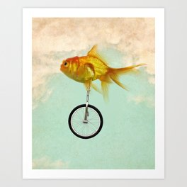 unicycle goldfish 02 Art Print