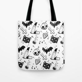 Bats, Cats and Skuls, Oh My! (B/W) Tote Bag