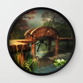 Wooden bridge over lotus pond Wall Clock