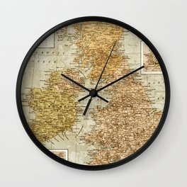 Vintage Map of Great Britain and Ireland, 1947 Wall Clock