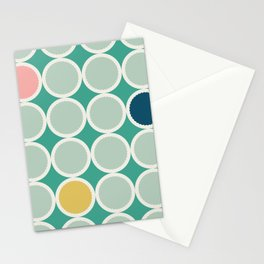 Adelaide Modern Scalloped Circles in Green - Stationery Cards