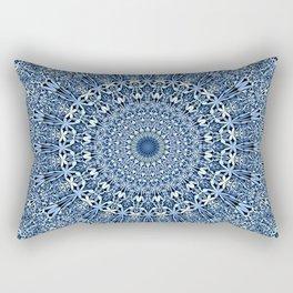 Light Blue Floral Mandala Rectangular Pillow