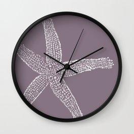 Starfish- white on plum Wall Clock