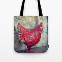 chicken Tote Bags featuring Chicken by KunstFabrik_StaticMovement Manu Jobst