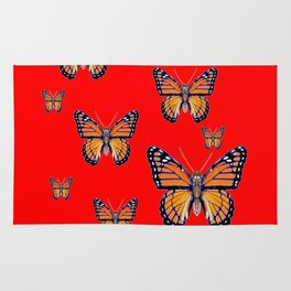 RED ART MONARCH BUTTERFLIES Rug