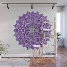 12-Fold Mandala Flower in Purple Wall Mural