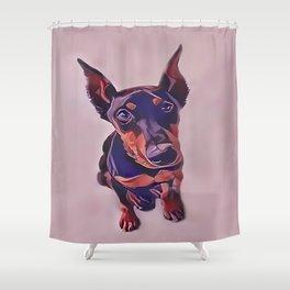 Black and Tan Doberman Pinscher Shower Curtain