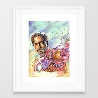 tony stark Framed Art Prints featuring Tony Stark by Trenita