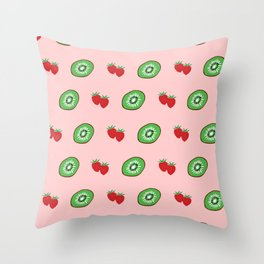 Strawberry and Kiwifruit Bright Pattern Throw Pillow