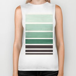 Marine Green Minimalist Mid Century Modern Color Fields Ombre Watercolor Staggered Squares Biker Tank