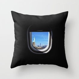 Manhattan and Statue of Liberty from my Seat Throw Pillow