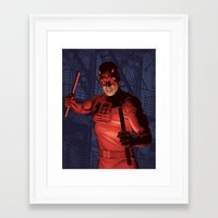 daredevil Framed Art Prints featuring Daredevil by Arne AKA Ratscape