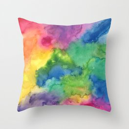 Bright Rainbow Watercolor Abstract Throw Pillow