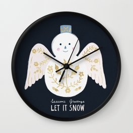 Holiday Flower Snowman Wall Clock
