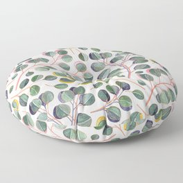 Simple Silver Dollar Eucalyptus Leaves Floor Pillow