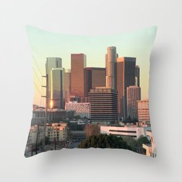 Los Angeles skyline at dawn Throw Pillow