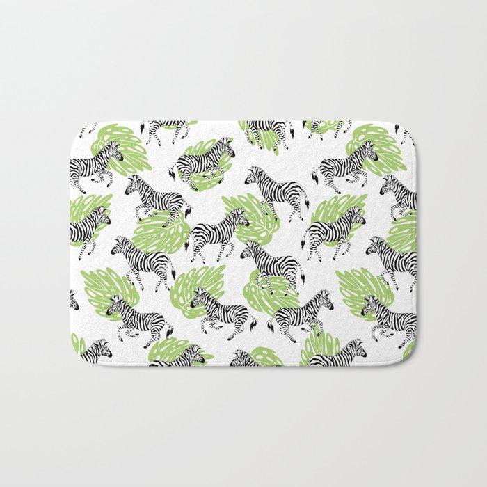 Zebras green pattern Bath Mat