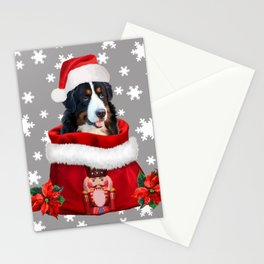 Santa Claus bernese mountain dog - Christmas nutcracker bag Stationery Cards