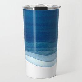 Watercolor blue waves Travel Mug