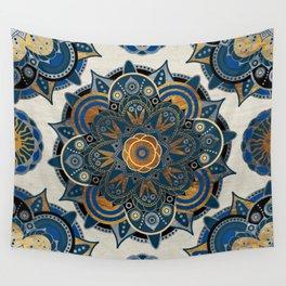 Mandala Blue and Gold Wall Tapestry