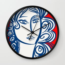 Blue Red Girl Portrait Minimal Art Wall Clock