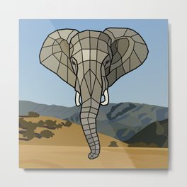 The Guardian - Mosaic Elephant Metal Print