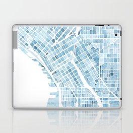 Map Seattle Washington Blueprint watercolor map Laptop & iPad Skin