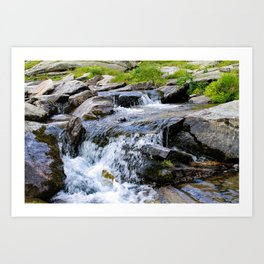 A small waterfall in the water stream. Art Print