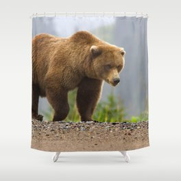 Marvelous Huge Grizzly Bear Patrolling His Territory Close Up Ultra High Fidelity Shower Curtain