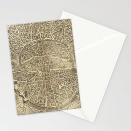 Vintage Map Print - 1600 map of Paris Stationery Cards
