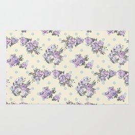Vintage chic pastel lavender blue ivory roses polka dots pattern Rug