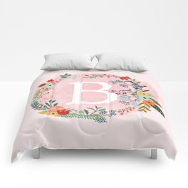 Flower Wreath with Personalized Monogram Initial Letter B on Pink Watercolor Paper Texture Artwork Comforters