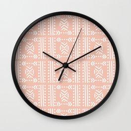 Mudcloth No.4 in Blush + White Wall Clock