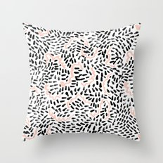 Helena - black white rose quartz abstract squiggle dot mark making painting brushstrokes minimal  Throw Pillow