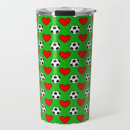 Soccer Balls And Red Hearts Pattern Travel Mug