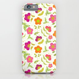 Bright Rounded Flowers on Bed of Pale Green Leaves (pattern) iPhone Case