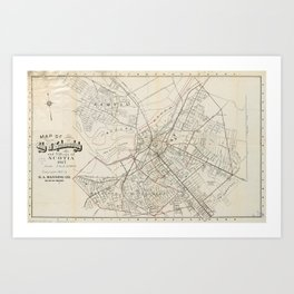 Vintage Map of Schenectady NY (1917) Art Print