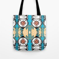 scuba Tote Bags featuring Scuba Squad by Marc Douglas Weiss